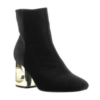 Cape Robbin Women's Black Velvet Ankle-high Side-zip Block-heel Dress Booties
