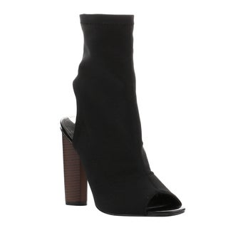 Cape Robbin Women's Black Faux Leather Stretchy Peep-toe Stacked-heel Ankle Booties
