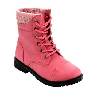 Honey Bunny Girl's Faux Leather Toddlers Lace-up Knitted Cap-toe Ankle Booties