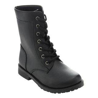 Honey Bunny Girls' FF95 Lace Up Fold Over Cuff Combat Boots