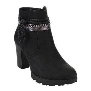 Via Pinky EF19 Women's Chain Braided Strap High Stacked Ankle Bootie