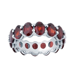 Sterling Silver 12.54 Ct Oval-Cut Garnet Eternity Stackable Band Ring
