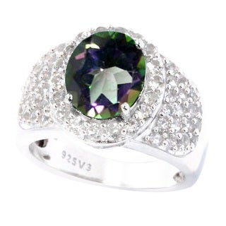 Sterling Silver 3.53cttw Azotic Mystic Topaz and White Topaz Anniversary Ring