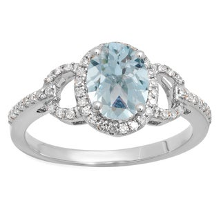 14k Gold 1 3/8ct TW Oval-cut Aquamarine and White Diamond Bridal Ring (I-J, I1-I2)