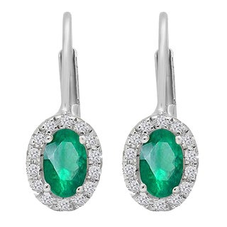 14k Gold 1/2ct TW Oval-cut Emerald and White Diamond Halo Style Hoop Earrings (I-J, I2-I3)
