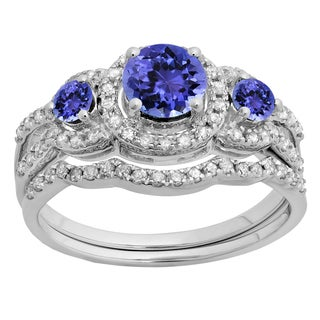 14k Gold 1 3/8ct TW Tanzanite and White Diamond 3 Stone Bridal Engagement Ring Set (H-I, I1-I2)