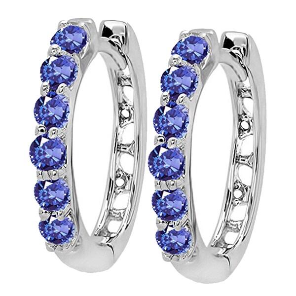 7eee1d61a Shop 14k White Gold Tanzanite Ladies Hoop Earrings - Free Shipping ...