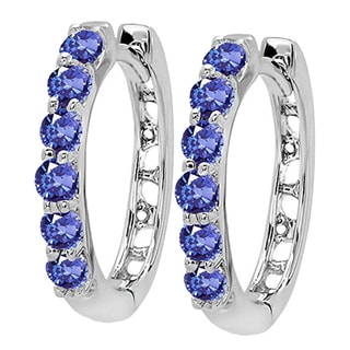 14k White Gold Tanzanite Ladies Hoop Earrings