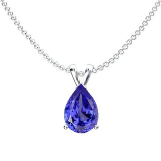Sterling Silver 1ct TW Pear-cut Tanzanite Solitaire Pendant