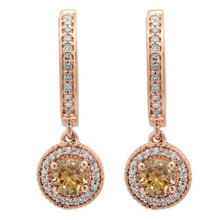 10k Rose Gold 3/4ct TW Round Champagne and White Diamond Dangling Earrings (I-J, I2-I3)