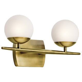Halogen Bathroom Light: Kichler Lighting Jasper Collection 2-light Natural Brass Halogen Bath/Vanity  Light,Lighting
