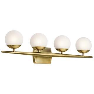 Brass finish wall lights for less overstock kichler lighting jasper collection 4 light natural brass halogen bathvanity light aloadofball Image collections