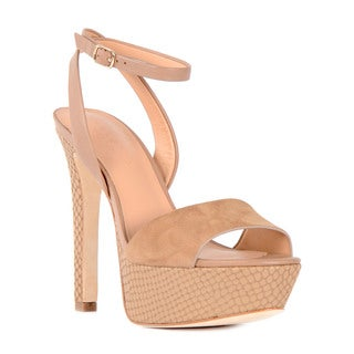 Halston Heritage Women's Bobbie Beige Leather and Suede Snakeskin-print Platform Sandals