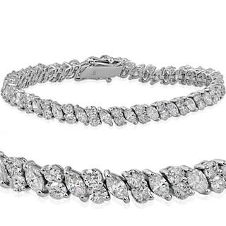 18k White Gold 7.86 ct TDW Marquise & Round Diamond Tennis Bracelet (G-H,SI1-SI2)