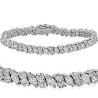 18k White Gold 7.86 ct TDW Marquise & Round Diamond Tennis Bracelet