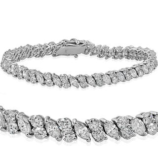 18k White Gold 7.86 ct TDW Marquise & Round Diamond Tennis Bracelet