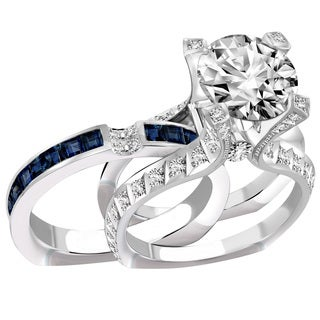 14k Gold 2 1/2ct TDW White Diamond and Sapphire Split Shank Diamond Bridal Set (F-G, VS1-VS2)