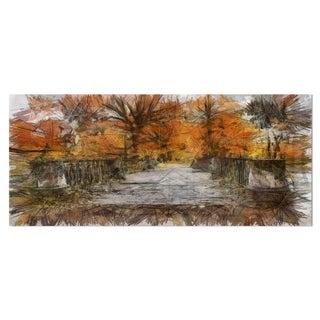 Designart 'Beautiful Watercolor Autumn Forest' Landscape Metal Wall Art