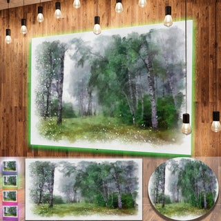 Designart 'Green Forest Watercolor Drawing' Large Landscape Metal Wall Art