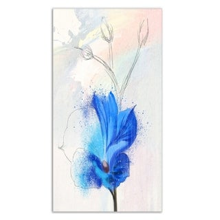 Designart 'Beautiful Blue Flower Watercolor' Floral Metal Wall Art