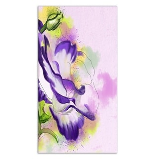 Designart 'Abstract Blue Flower Watercolor' Floral Metal Wall Art