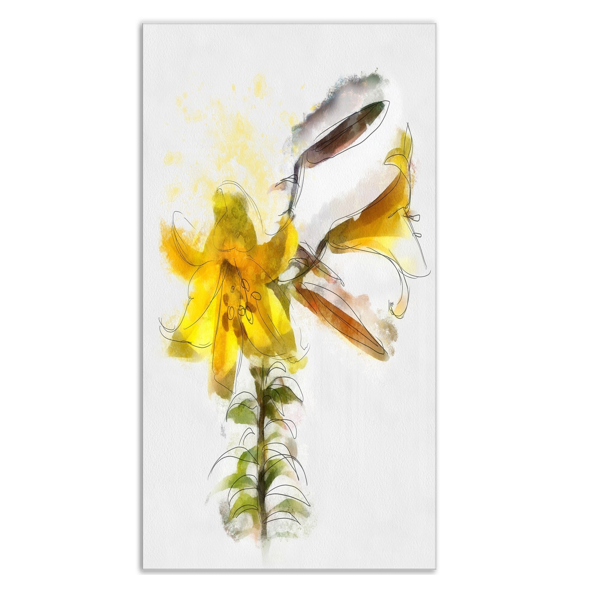 Designart \'Yellow Tulip Stem with Leaves\' Extra Large Floral Metal ...