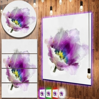Designart 'Purple Watercolor Tulip Flower' Floral Metal Wall Panel