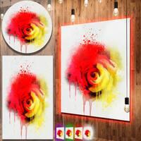 Designart 'Beautiful Red Yellow Rose Watercolor' Flowers Metal Wall Art