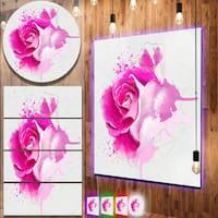 Designart 'Bright Pink Rose Flower Watercolor' Flowers Metal Wall Art