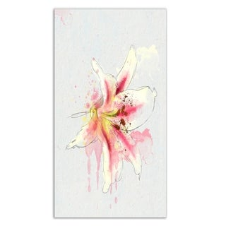 Designart 'Pink Yellow Lily Watercolor Sketch' Flowers Metal Wall Art