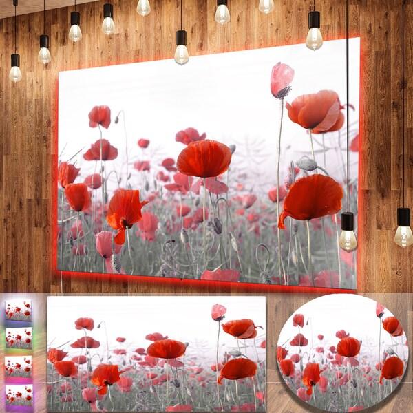 Shop Designart \'Amazing Red Poppy Flower Garden\' Flower Metal Wall ...