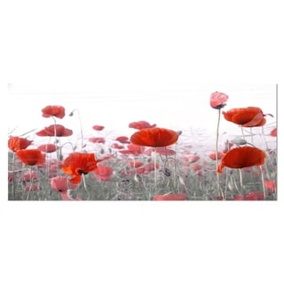 Designart 'Amazing Red Poppy Flower Garden' Flower Metal Wall Art