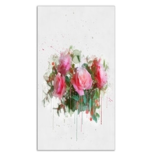 Designart 'Bunch of Pink Roses Watercolor' Flower Metal Wall Art