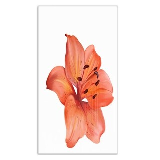 Designart 'Beautiful Red Lily Watercolor Sketch' Flower Metal Wall Art