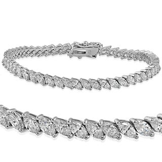 18k White Gold 6.46 ct TDW Marquise Diamond Tennis Bracelet (G-H,SI1-SI2)