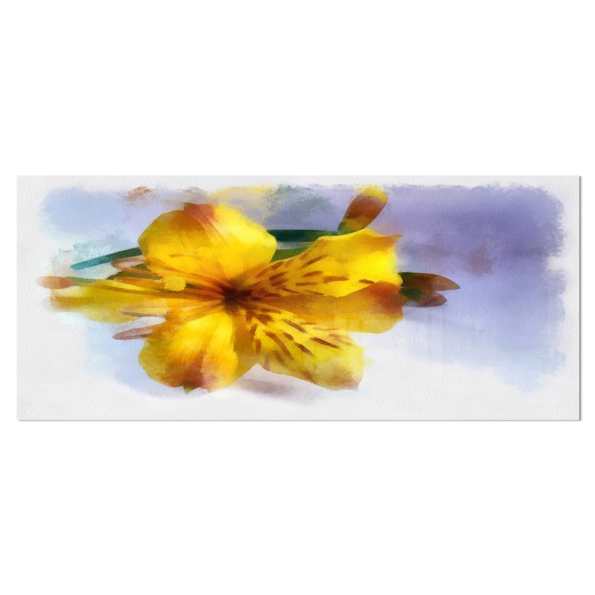 Designart \'Yellow Lily Hand-drawn Flower\' Extra Large Floral Metal ...