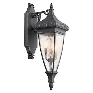 Kichler Lighting Venetian Rain Collection 3-light Black w/Gold Outdoor Wall Lantern