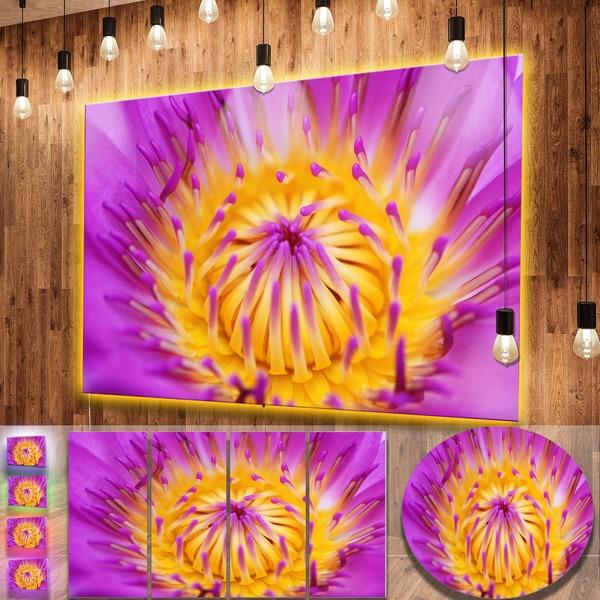 Designart pink yellow abstract lotus flower flowers metal wall art designart x27pink yellow abstract lotus flowerx27 flowers metal wall mightylinksfo