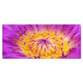 Designart 'Pink Yellow Abstract Lotus Flower' Flowers Metal Wall Art