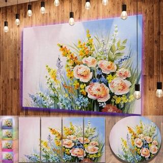 Designart 'Abstract Bouquet of Summer Flowers' Flower Metal Wall Art