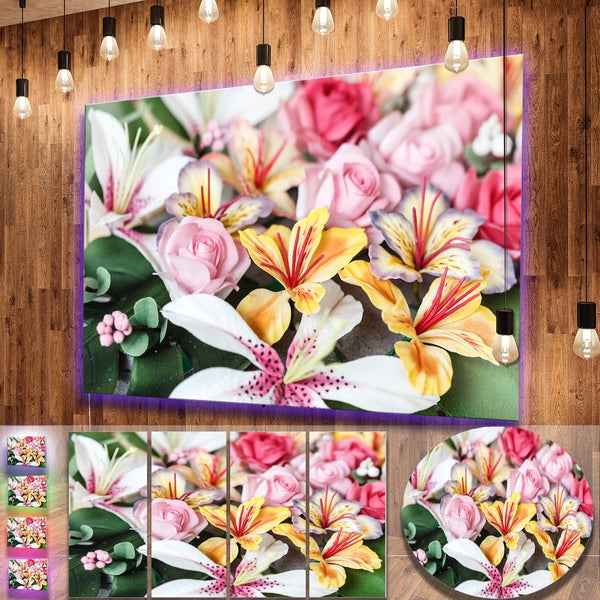 Shop Designart \'Beautiful Sugar Flower Decoration\' Flower Metal Wall ...