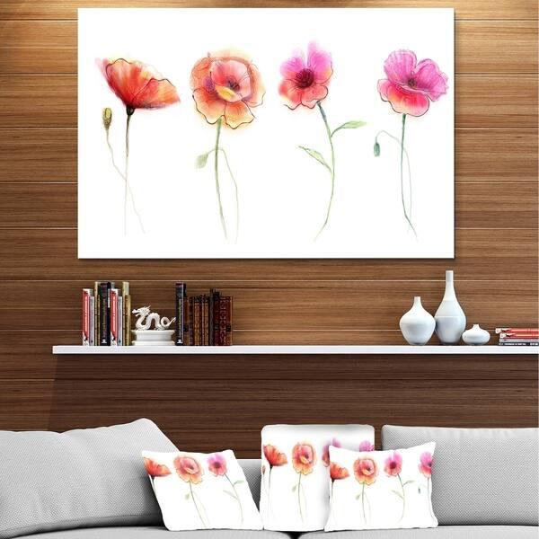 Designart Watercolor Poppy Flowers Sketch Flower Metal Wall Art Overstock 13658108