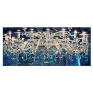 Designart 'Blue Vintage Crystal Chandelier' Flower Metal Wall Art