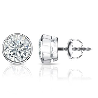 Auriya GIA Certified Platinum Bezel Setting 3.00 ct. TDW (E-F, SI1-SI2) Screw Back Round Diamond Stud Earrings