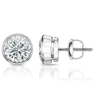 Auriya GIA Certified Platinum Bezel Setting 1.50 ct. TDW (E-F, SI1-SI2) Screw Back Round Diamond Stud Earrings