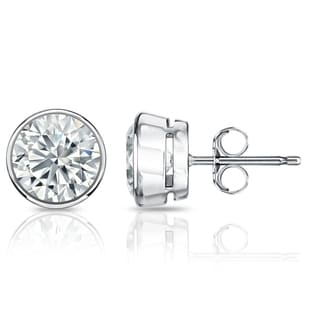 Auriya GIA Certified Platinum Bezel Setting 1.50 ct. TDW (E-F, SI1-SI2) Push Back Round Diamond Stud Earrings