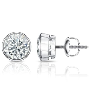 Auriya GIA Certified Platinum Bezel Setting 1.00 ct. TDW (E-F, SI1-SI2) Screw Back Round Diamond Stud Earrings
