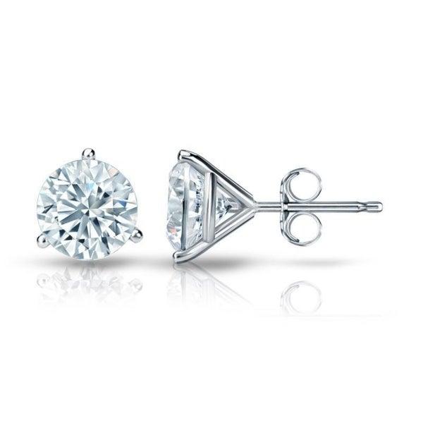 Round 2ct Tdw Gia Certified Martini Diamond Stud Earrings In 14k Gold By Auriya
