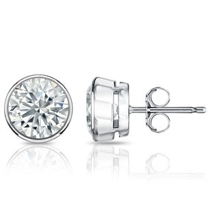 Auriya GIA Certified Platinum Bezel Setting 4.20 ct. TDW (G-H, VVS1-VVS2) Push Back Round Diamond Stud Earrings