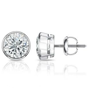 Auriya GIA Certified Platinum Bezel Setting 4.00 ct. TDW (G-H, VVS1-VVS2) Screw Back Round Diamond Stud Earrings